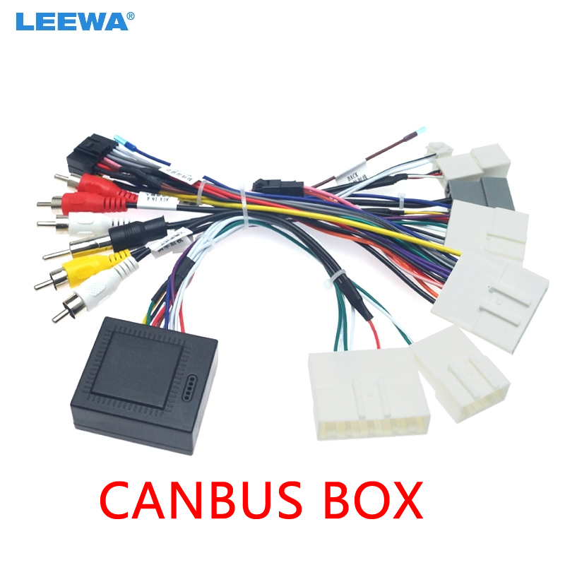 LEEWA Car Audio 16PIN Android Power Cable Adapter With Canbus Box For Nissan Teana/Sylphy/Tiida Power Cable Wiring Harness