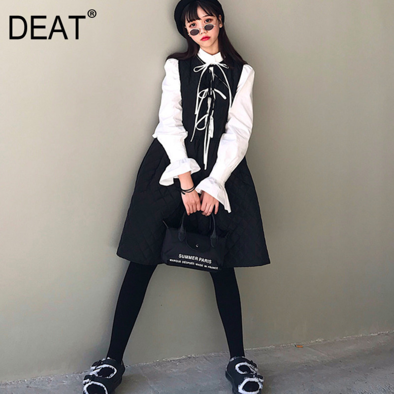 DEAT 2019 New Fashion Women Clothing Autumn And Witner Round Neck Bow Tied Sleeveless Outfits Girl's Dress Japan