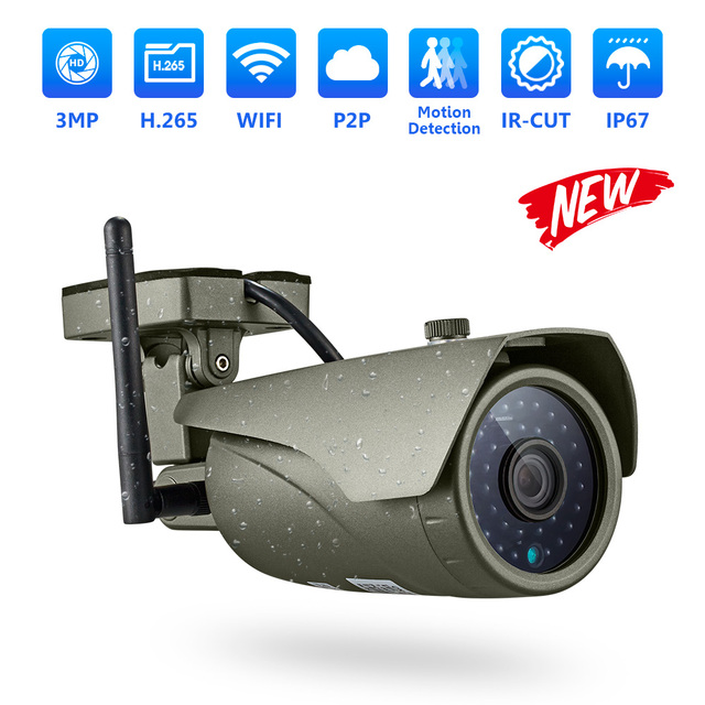 FUERS WIFI IP Camera FHD 3MP CCTV Camera H.265 P2P IP67 Waterproof Outdoor Indoor Motion Detection Metal Camera Onvif AP Hotspot