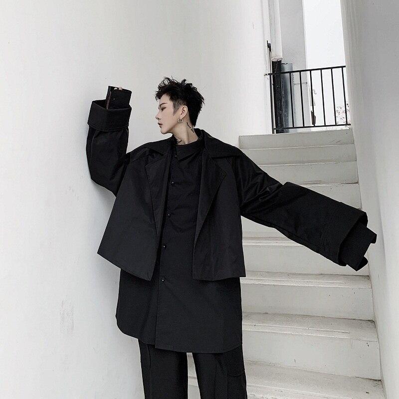 2020 printemps et automne nouvelle personnalité originale Design Ultra large manchette courte couleur unie veste mode haut décontracté noir/blanc