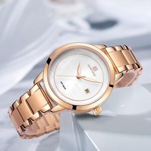 Роскошные Брендовые Часы NAVIFORCE из розового золота для женщин, кварцевые наручные часы, модные женские часы с браслетом, водонепроницаемые ч...