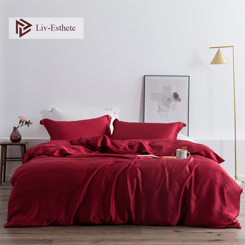 Liv-Esthete Wine Red 100% Silk Luxury Bedding Set Silky Healthy Skin Duvet Cover Flat Sheet Bed Set For Women Men Kids Sleeping