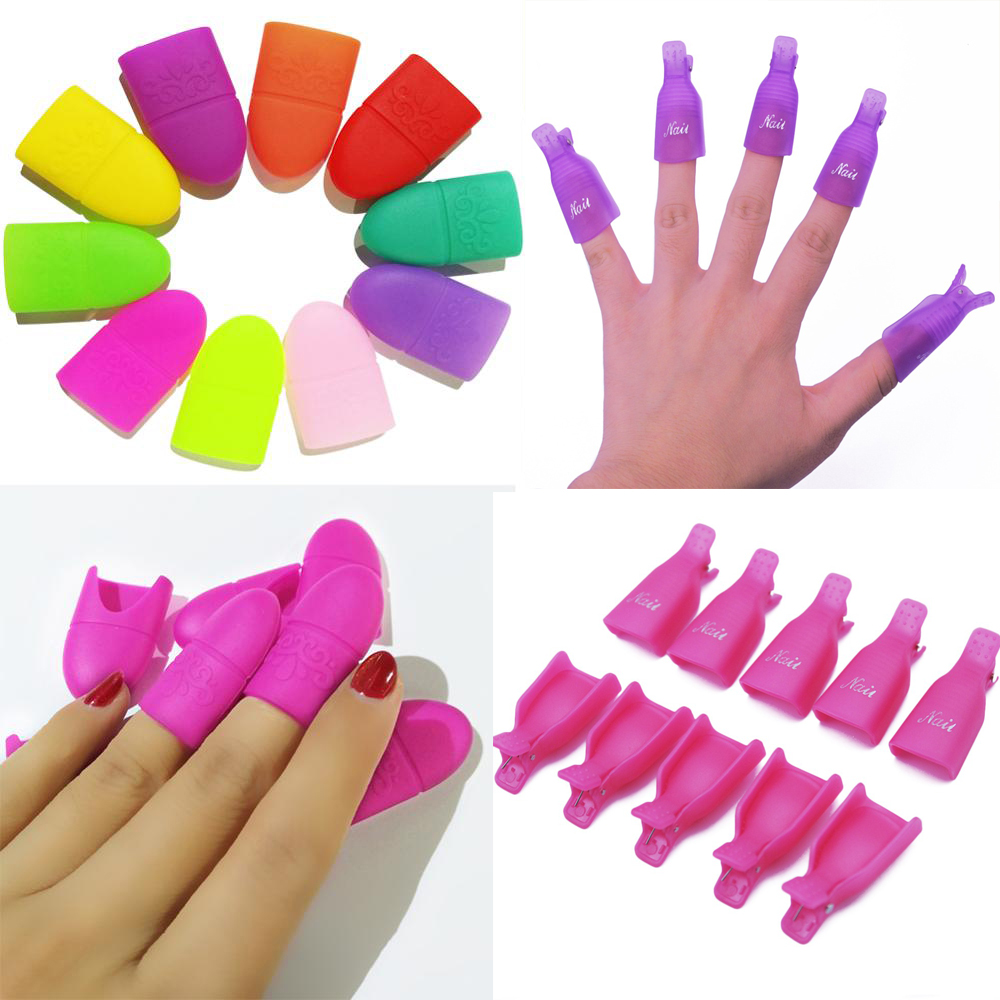 10pcs/set Remover Gel Polish Degreaser Polish Remove Gel Nail Polish Clips Caps Nail Cleaner Gel Nail Remover Manicure Tools