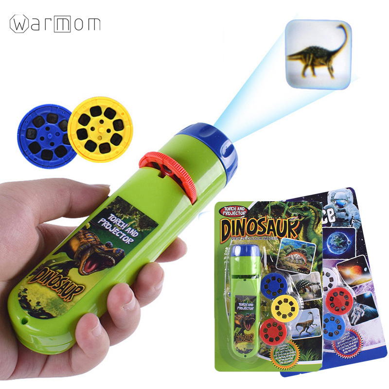 Warmom Mini Flashlight Puzzle Baby Early Educational Luminous Toy Animal Dinosaur Child Slide Projector Lamp For Kids Toys