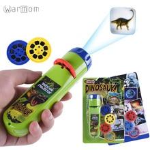 Warmom Mini Flashlight Puzzle Baby Early Educational Luminous Toy Animal Dinosaur Child Slide Projector Lamp For Kids Toys