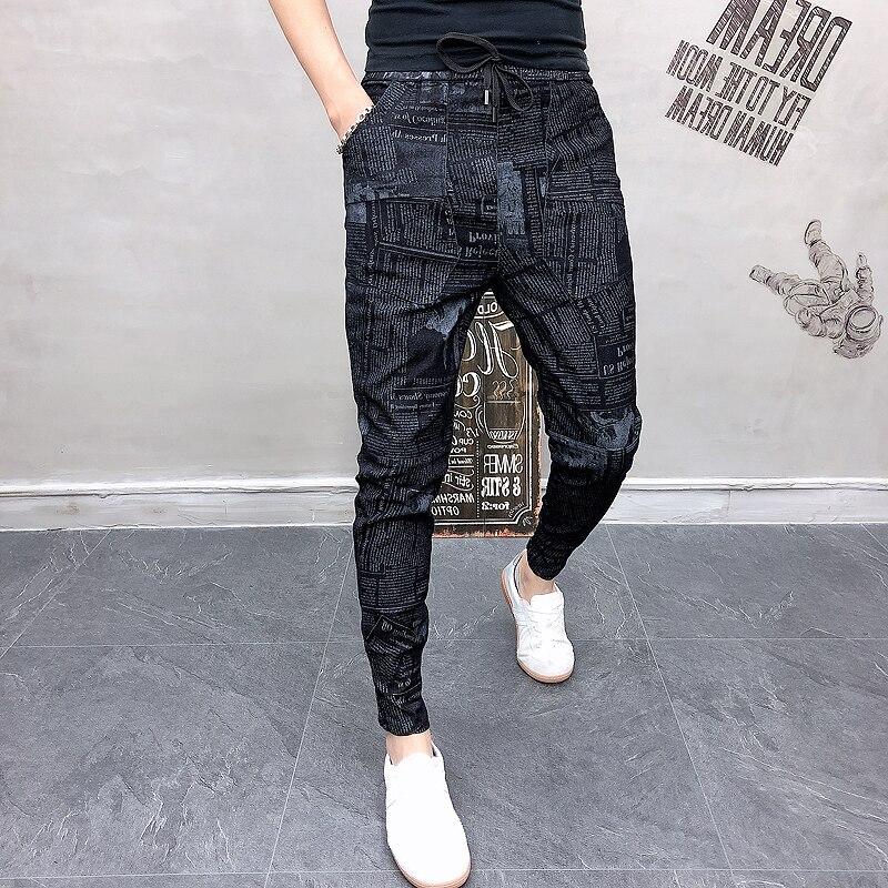 Fashion Streetwear Men Trousers 2019 Autumn Letter Print Men Joggers Pants Casual Hip Hop Sweatpants Male Black Jeans Clothing