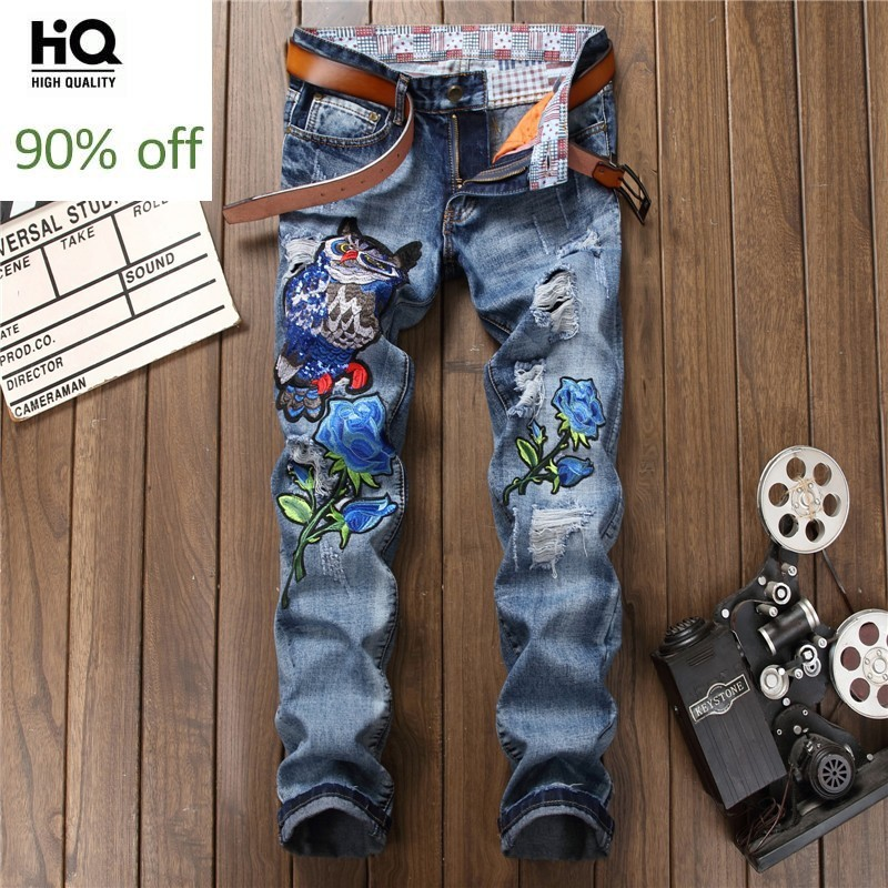 Design New Hole Ripped Jeans Men Fashions Embroidery Animal Blue Denim Trousers Top Quality Spring Autumn Zip Straight Jeans