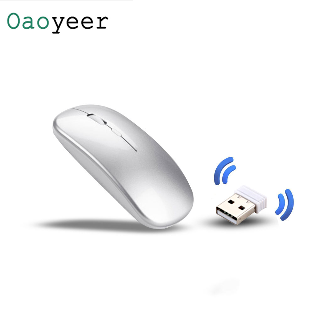 Wireless Computer Mouse Rechargeable Mice For Laptop Notebook Ultra Thin 2.4G Optical Mouse With USB Receiver Air Mouse