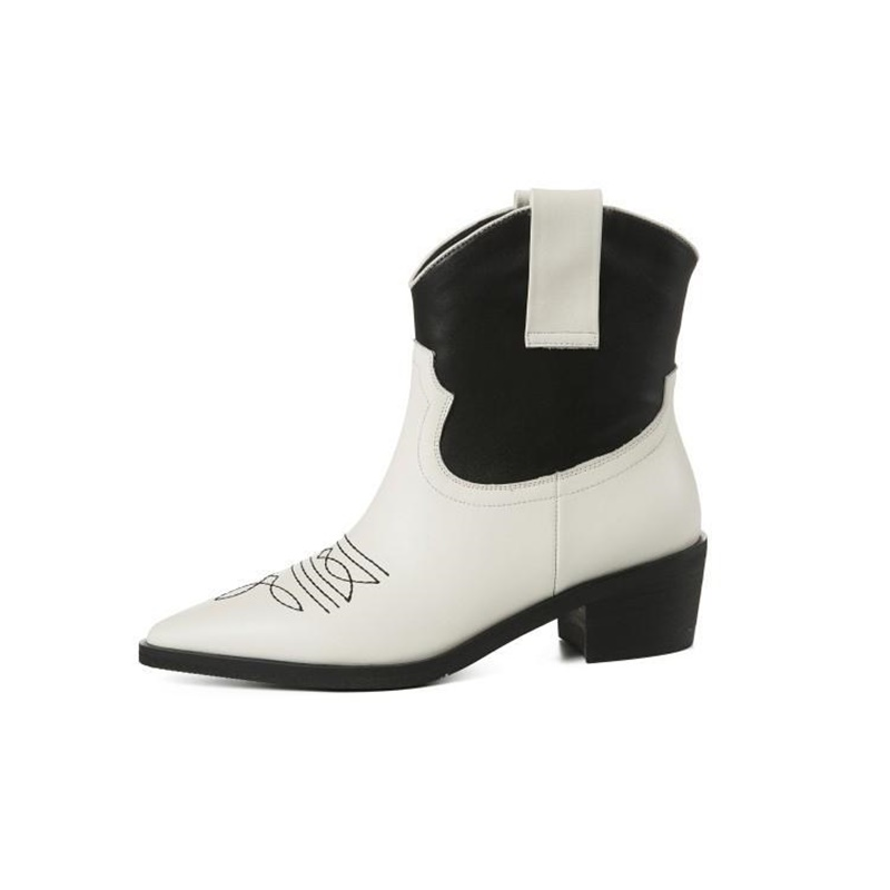 Womens Trendy Flower Square Toe Dressy Ankle Boots Inside Zip Up Mid Block Heel Booties with Zipper