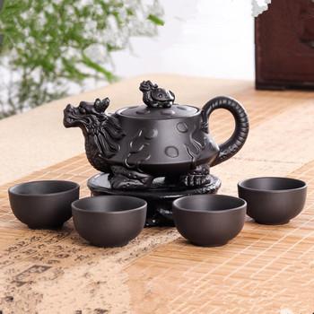 Oryginalny yixing Dragon zestaw z imbrykiem s 5 sztuk ceramiczna purpurowa glina zestaw do herbaty kung fu 1 czajniczek + 4 kubki Handmade Zisha zestaw z imbrykiem tanie i dobre opinie Classic