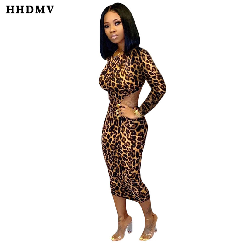 HHDMV SN3671 sexy tribal peoples style dresses long sleeve round neck lace-up dew back dresses leopard grain mid long dresses