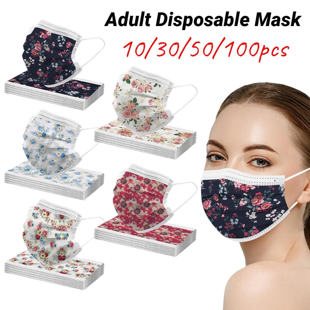 10//30/50/100 pces adulto máscara protetora descartável flor impressão boca respirável máscara não tecida 3ply filtro earloops máscara
