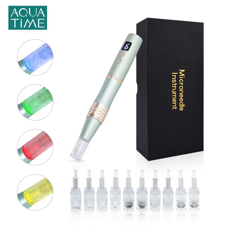 Derma pluma inalámbrica Microneedeling pluma Dr pluma con LED de fotones de aguja Nano Micro belleza instrumento tatuaje PMU MTS de la máquina