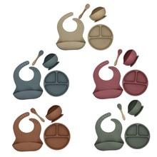 4 unids/set libre de BPA silicona bebé vajilla babero impermeable de Color sólido cena plato hondo con ventosa y cuchara para niños