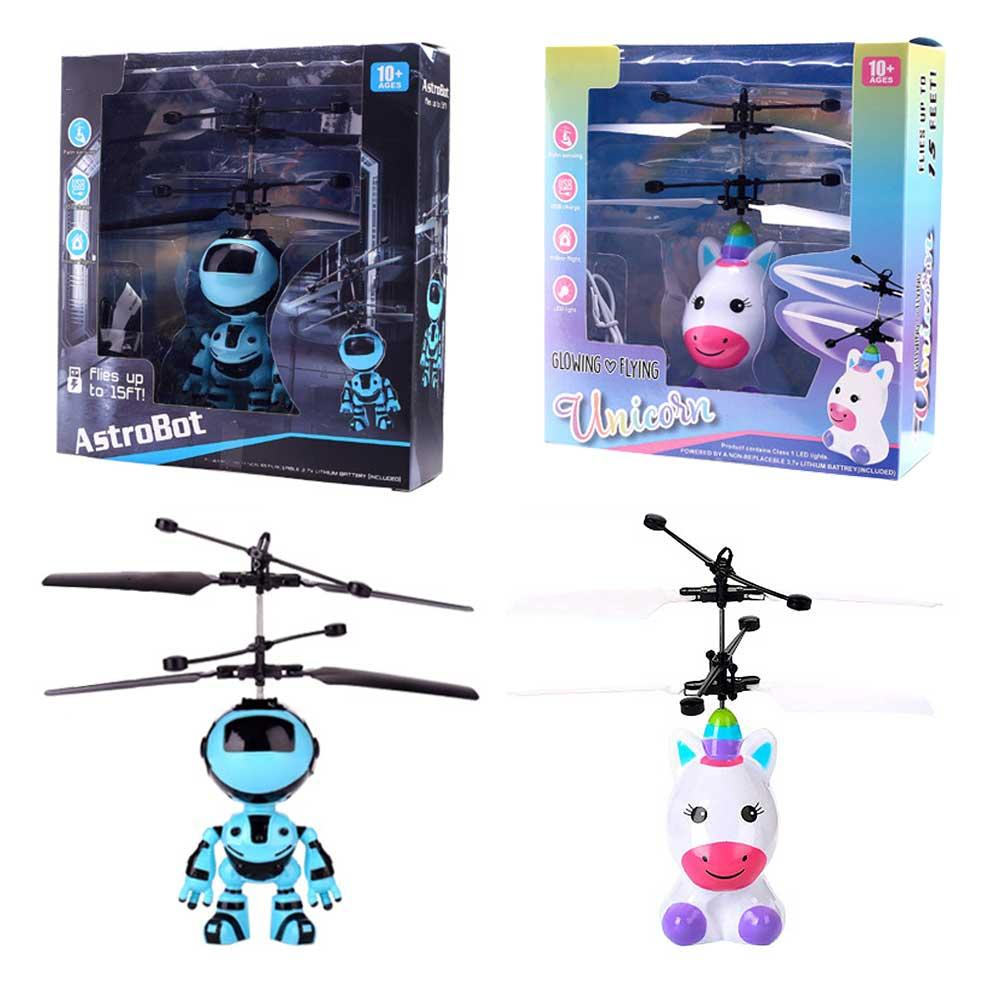 New Fashion Hands Flying Induction Aircrafting New Exotices Innovative Flying Toys Robots Helicopter Charging Light Toys