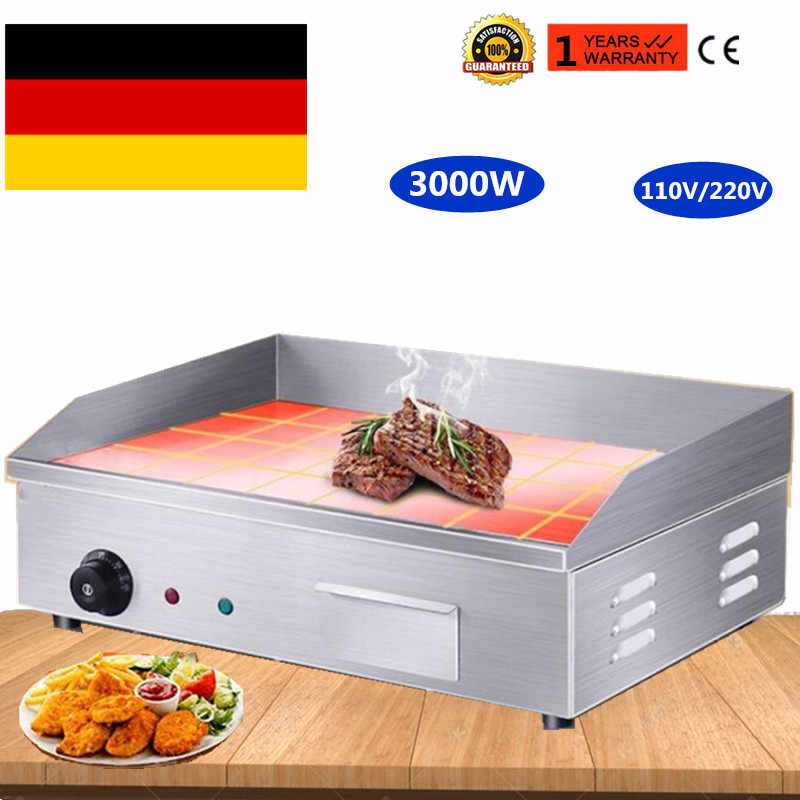 Germany Stock 3000W Stainless Steel All Flat Pan Electric Griddles And Grooved Electric Griddle Grooved Electric Fried Pans