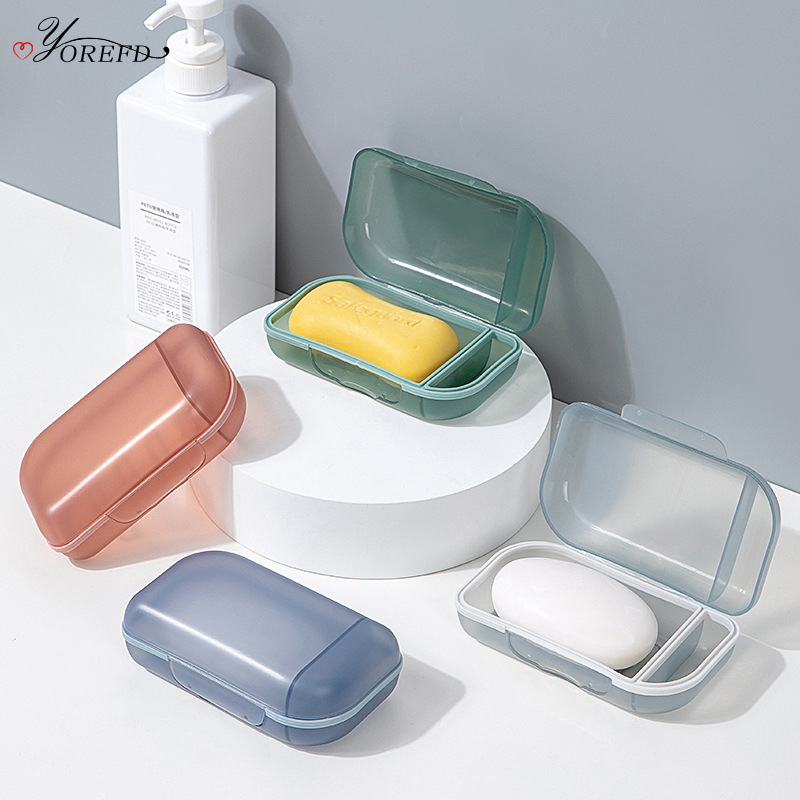 OYOREFD Creative Portable Transparent Soap Box Outdoor Travel Soap Protect Case Bathroom Drain Soap Dish Bathroom Accessories