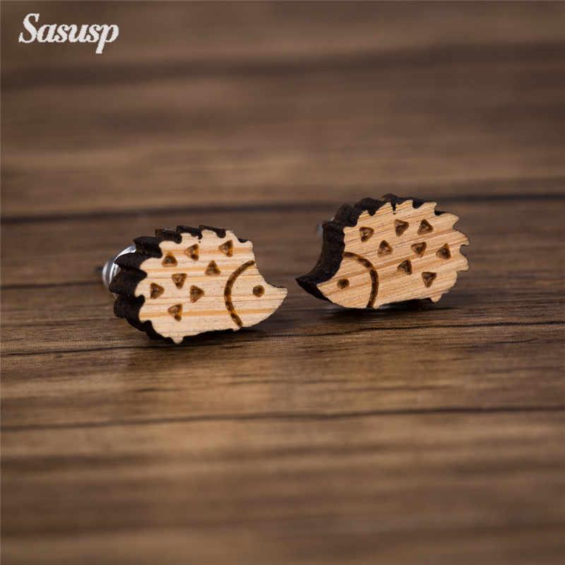 Sasusp ไม้สำหรับผู้หญิง Mickey Fox Crane กระต่าย Hedgehog ต่างหูสตั๊ดสำหรับสาวลูกสาวของขวัญเครื่องประดับ 2019
