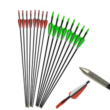 12 PCS 31 Archery 6mm Fiberglass Shaft Arrow Nock Target Points Arrowheads Recurve Compound Bow For Oudoor Shooting Hunting
