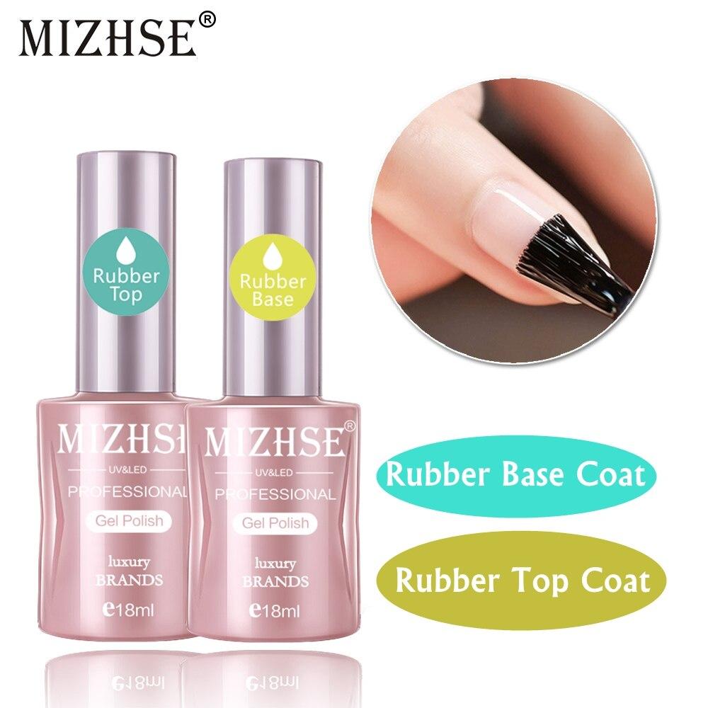 MIZHSE 18ML 2pcs/Lot Rubber Base Top Coat Gel Polish Primer Soak Off Gel Nail Polish Semi Permanent Gelpolish Clear Finish Gel