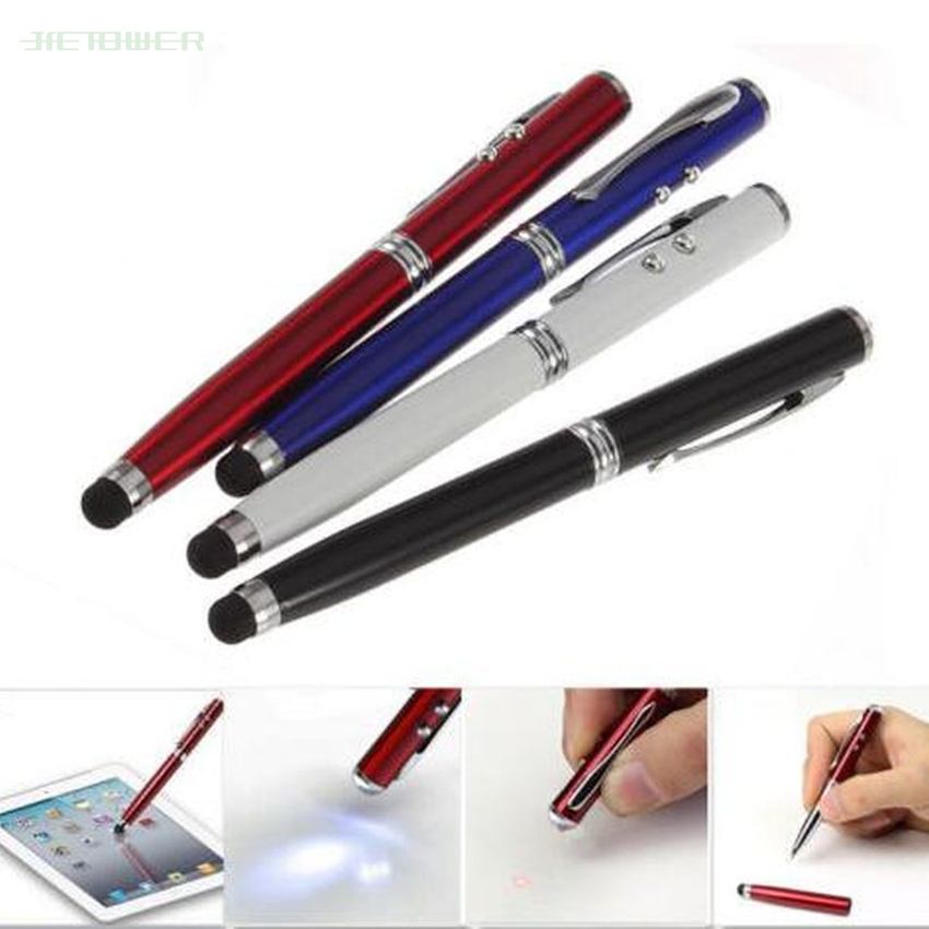 500pcs/lot 4 In 1 Soft Rubber Tip Laser Pointer LED Torch Touch Screen Stylus Ball Pen For Iphone Samsung Tablet PC Mobile Phone