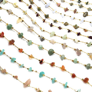 1 Meter Handmade Gold Wire Wrapped Rosary Chain stone Beads Chains for Necklaces Bracelets Anklet Making DIY Jewelry Findings