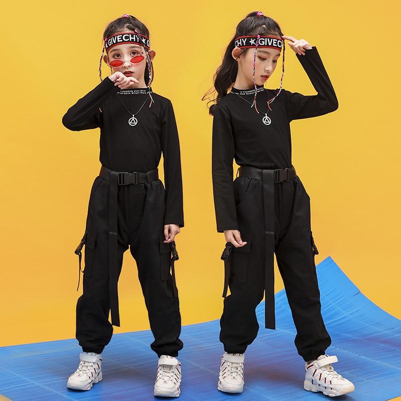 Kid Hip Hop Clothing High Neck Sweatshirt Shirt Top Crop Running Casual Pants For Girls Jazz Dance Costume Ballroom Clothes Wear