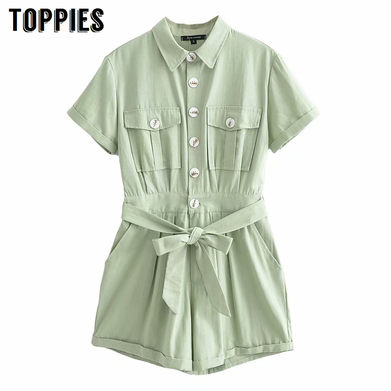 2020 Summer Short Sleeve Jumpsuits Women Vacation Playsuits Lace-up Belt Short Pants Casual Rompers