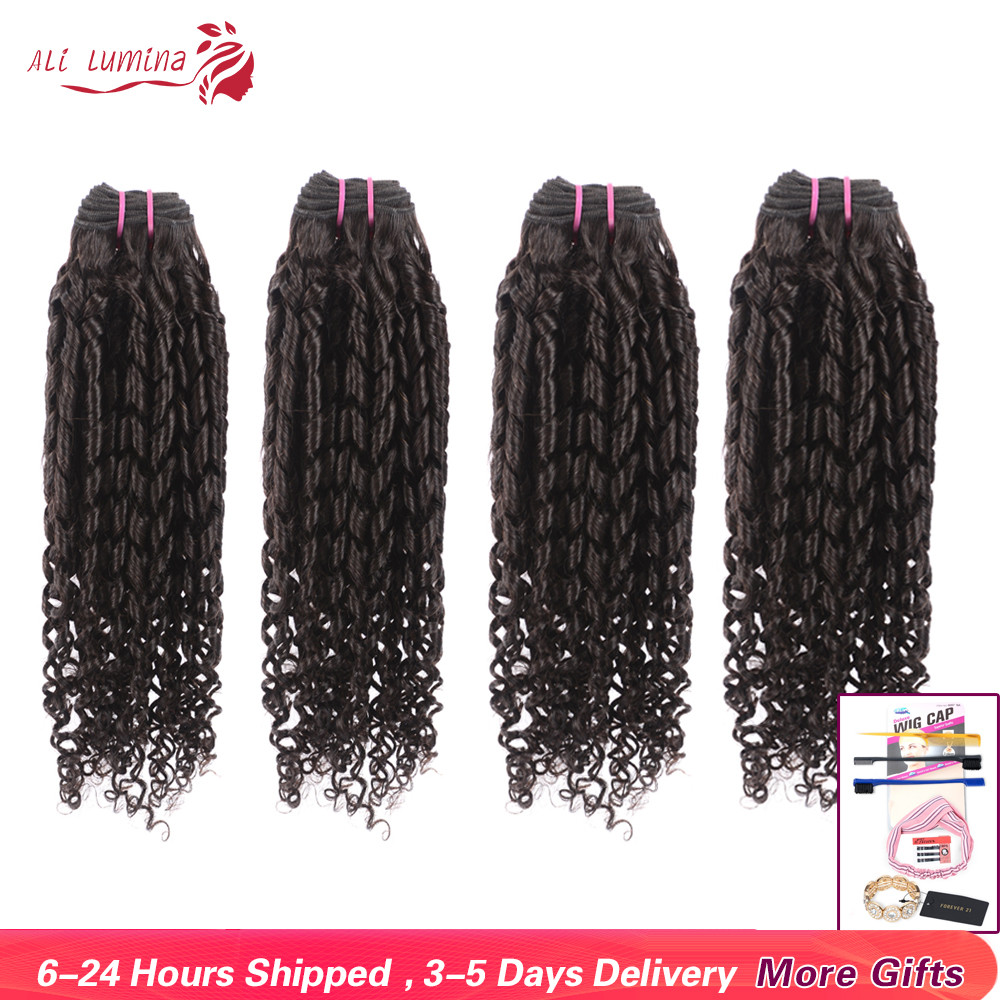 Brazilian Bouncy Curly Bundles 100% Remy Human Hair Extensions Natural Color 4 Bundles Human Hair Weave 8- 30 32 Inch Length
