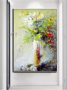 Image 3 - 질감 두꺼운 꽃병 꽃 수제 유화 캔버스 벽 아트 유화 캔버스 나이프 아트 홈 인테리어 벽 사진