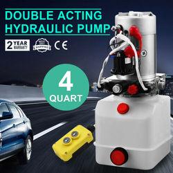 Pompa hydrauliczna 12V DC dwustronnego działania hydrauliczna jednostka napędowa 4 kwart zbiornik z tworzywa sztucznego pompa hydrauliczna jednostka napędowa przyczepa wywrotka Car Lif w Akcesoria do elektronarzędzi od Narzędzia na