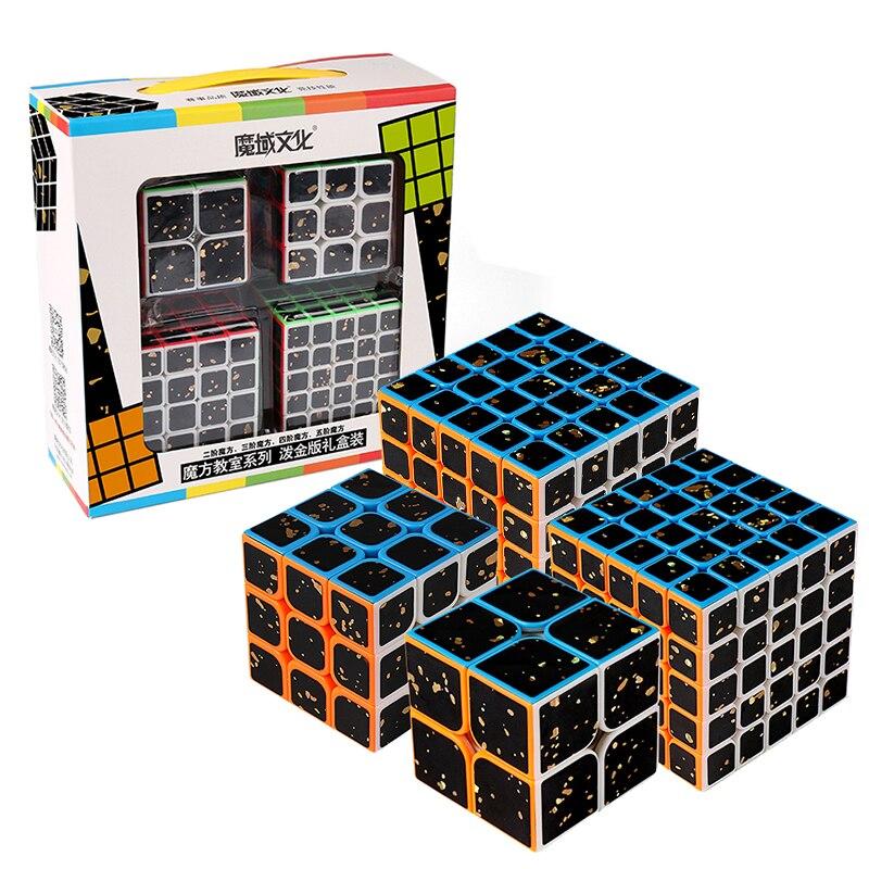 4pcs Splash Gold Rubix Cube 2x2 Set 3x3 4x4 5x5 Magic Cube 3x3x3 Speed Rubic Cube Game Sticker Puzzle Children Toys For Gift Box