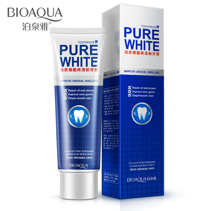 BIOAQUA Herbal Mint Fresh Toothpaste Whitening Remove Yellow Stains Halitosis Plaque Reduce Gingivitis Dentifrice Clean Dental