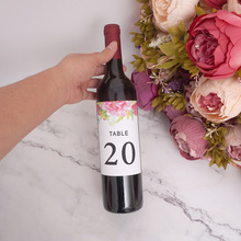 9x12.7 cm Romantic Flowers Table Number Bottle Sticker Wine