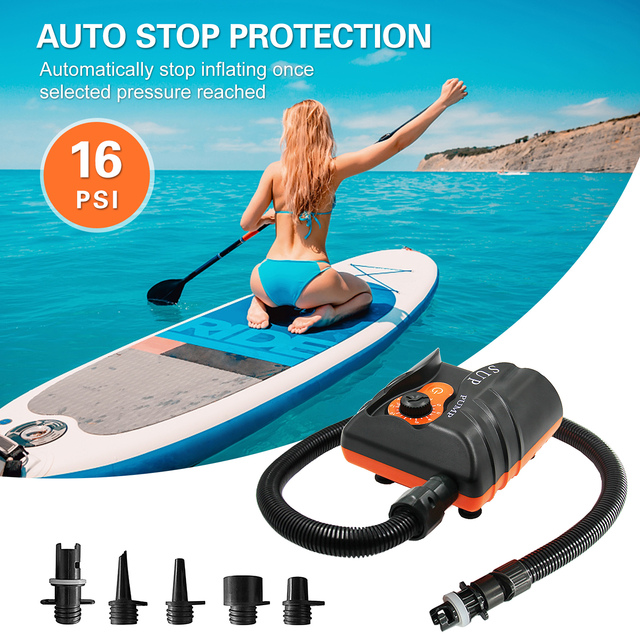 110W 16PSI Electric Inflation Air Pump with 6PCS Nozzles for Inflatable SUP Surfing Board Boat Intelligent Inflatable Pump 1