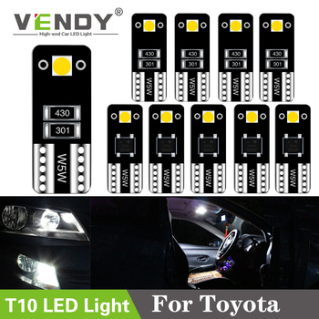 цена на 10pcs W5W Car LED Light T10 Lamp Bulb For Toyota Corolla Camry 40 Prius RAV4 Tundra auris yaris hilux avensis t25 chr wish verso