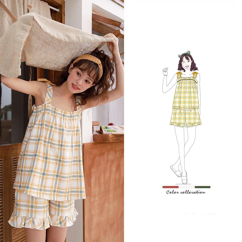 Caiyier Korea Summer 2020 Sling Cotton Pajamas Set Cute Yellow Grid Print Nightgown Ladies Homewear Soft Lounge Wear T-shits
