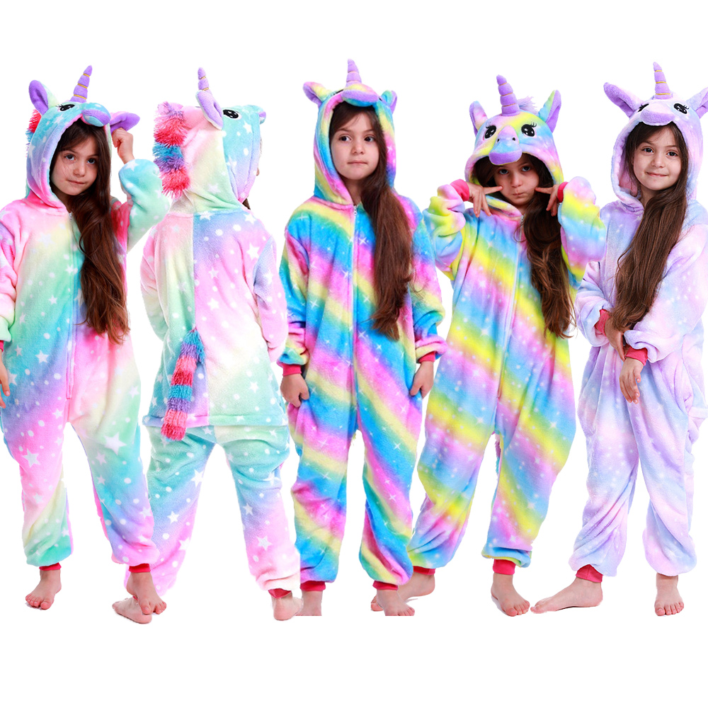 Children's Sleepwear For Boys Girls Unicorn Pajamas Flannel Kids Stich Unicornio Pijamas Set Animal Winter Onesies