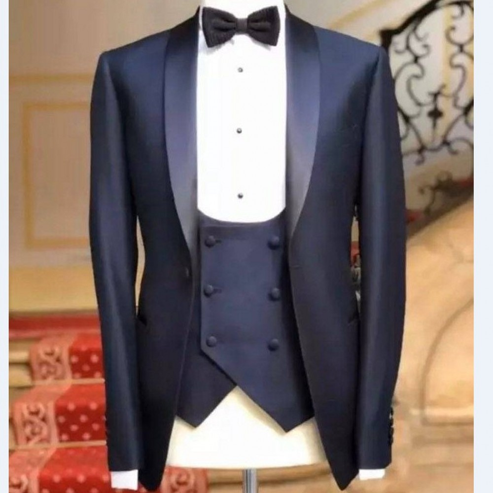 Brand New Groomsmen Navy Blue Groom Tuxedos Shawl Satin Lapel Men Suits Wedding Best Man 3 Pieces ( Jacket+Pants+Vest+Tie ) C812