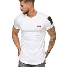 2021 Summer New Fashion Brand CCHT Color Printing Men's T-Shirts One-Shoulder Zipper Slim Fit O-Neck Short Sleeve Muscle Tops