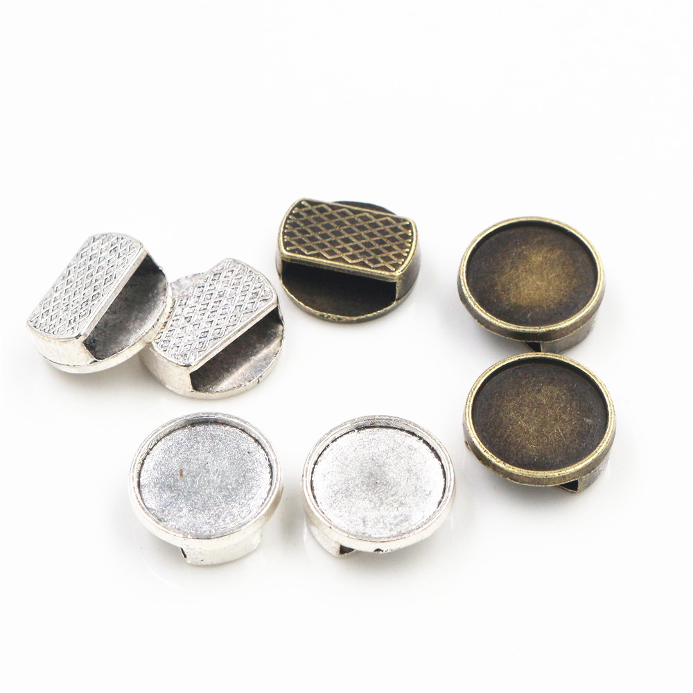 20pcs 12mm Inner Size Antique Silver Bronze Colors Round Cabochon Base Cameo Setting Charms Pendant For 10mm Leather Bracelet