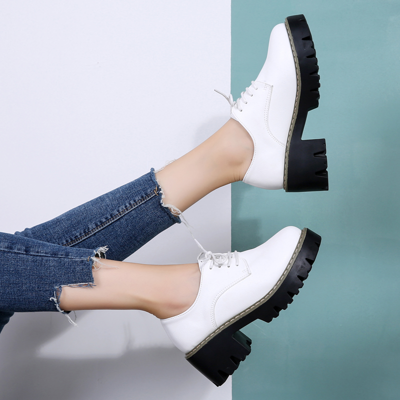 Winter new British wind small shoes women's thick with thick bottom increased women's shoes wild Korean version of the platform