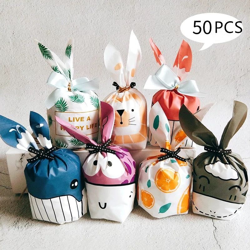 50pcs Cute Rabbit Long Ear Candy Bags Bunny Cookie Biscuit Packaging Supplies Small Snack Bag Wedding Party Favor Gift Bags