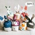 50 шт милый кролик длинное ухо конфеты сумки Банни печенья упаковочные материалы небольшая сумка закуски Свадебная вечеринка, день рождения...