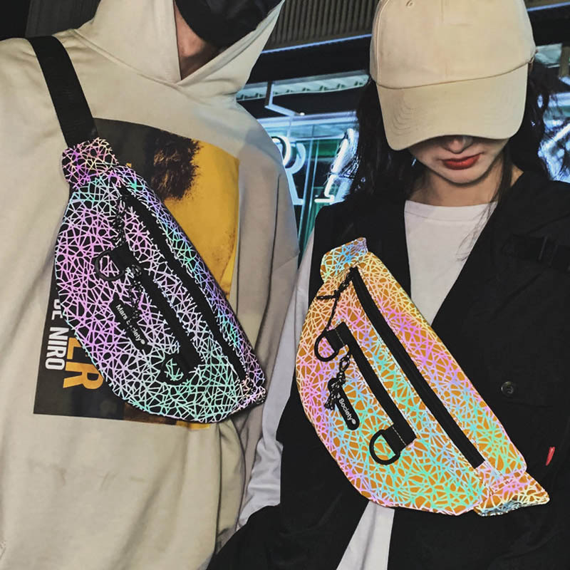 Unisex Reflective Waist Bag Fanny Pack Trend Hip Hop Crossbody Chest Bag Men Cool Waist Packs Shoulder Bags Waist Phone Purse