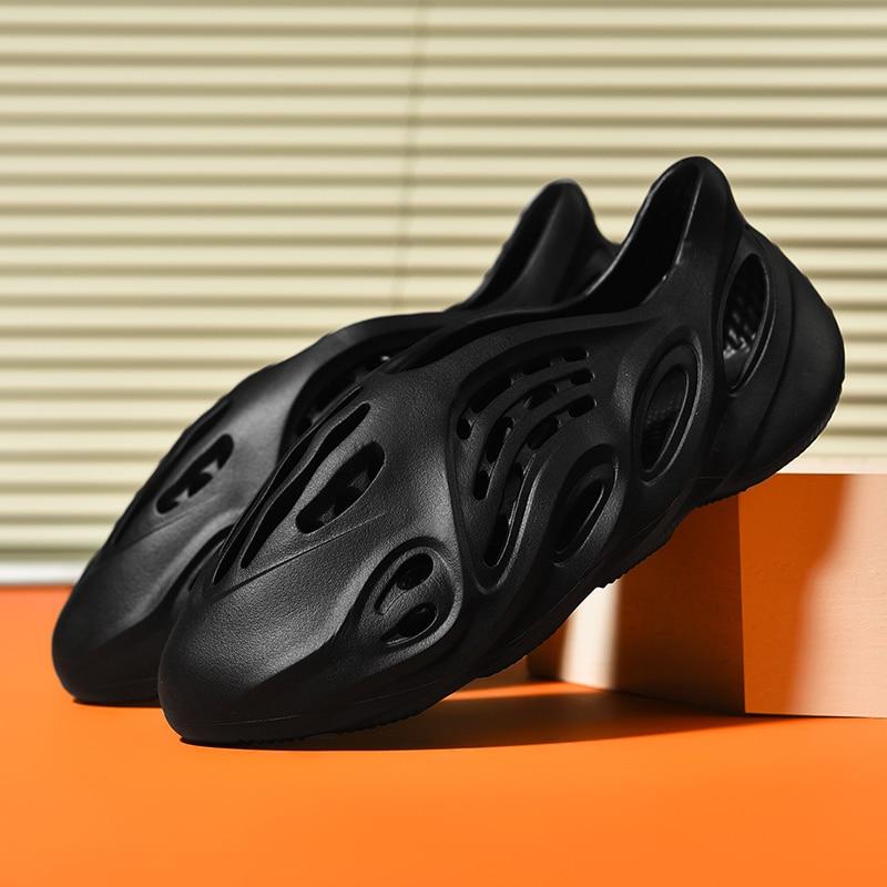 New Summer Men's Sandals Daily Outdoor Beach Concise Couple Garden Shoes Black White Hollow Shoes Neutral Flip Flops Shoes Shoes