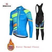 2020 冬の熱フリースサイクリングジャージ Ropa Ciclismo Mtb 長袖冬バイクウエア自転車服ビブショーツセット