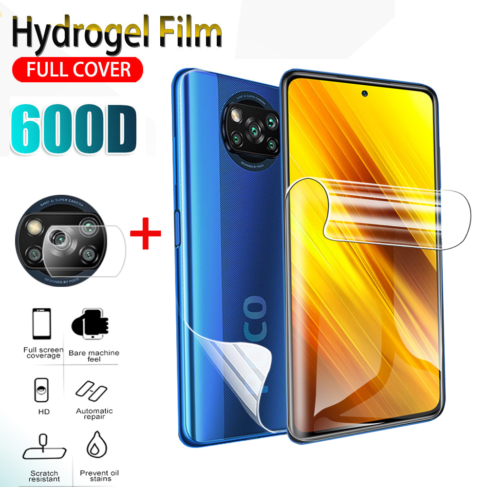 Мягкая Гидрогелевая пленка poco x3, 1-3 шт., для xiaomi poco x3 NFC pocophone x3 nfc, пленка для объектива передней и задней камеры, защита экрана, не стекло