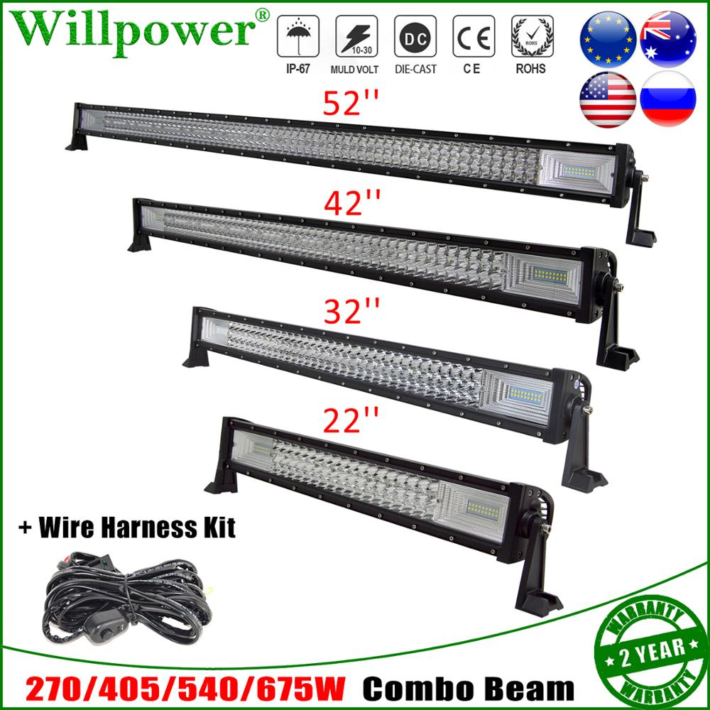 Auto Combo Beam 22 32 42 52 Inch 270 405 540 675W LED Work Light Bar For Jeep Polaris UTV SUV Offroad Truck Driving Lamps+ Wire