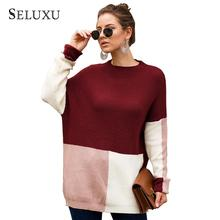 Seluxu 2019 New Autumn Women Sweater Round Neck Collar Patchwork Color Long Sleeve Tops